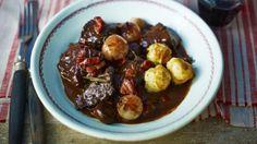 BBC Food - Recipes - Boeuf bourguignon with baguette dumplings