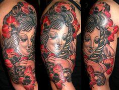 woman roses tattoo