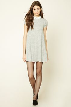 WANT!!! Forever 21; 16$  A marled knit swing dress featuring a contrast basic collar, short sleeves, and a buttoned keyhole back.