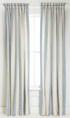 Blue and White Vertical Striped Curtain/Drape.