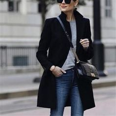 Autumn And Winter Fashion Pure Color Warm Coat – Fashion Outfit Mode Outfits, Fashion Outfits, Fashion Ideas, Outfits 2016, Fashion Updates, Blazer Fashion, Victoria Beckham Outfits, Fashion Magazin, Online Shopping
