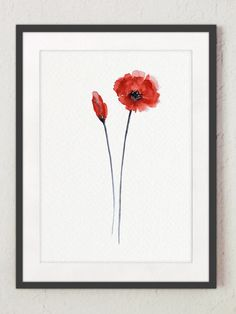 Poppy Giclee Art Print Watercolor Poster Floral Living Room