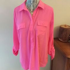 Hot pink button down blouse In great shape! Sheer. Old Navy Tops Button Down Shirts