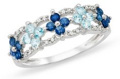 1 Carat Blue Topaz, Sapphire  Diamond 10K White Gold Ring from ice -