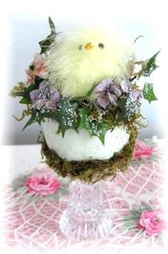 Spring Chick in Easter Egg Decoration