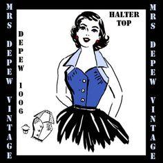 Vintage Sewing Pattern Ladies 1950's Halter Top Blouse by Mrsdepew, $7.50