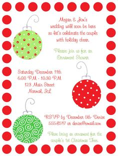 Christmas Bridal Shower Wording | Shop our Store > Christmas Ornaments Bridal Shower Invitations
