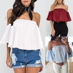 Women Elastic Off Shoulder Cropped Shirring Tube Top