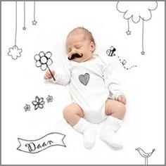 Kaartmix Geboortekaartjes jongetje baby snor doodle birth announcement boy geboortekaartje lief geboortekaarten babykaart moustache
