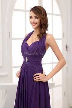 A-line Chiffon Halter Empire Floor-Length Backless Sleeveless Brooch Ruching prom dress - gopromdres.com