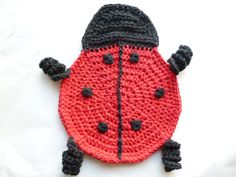 Crocheted Lady Bug Pot Holder/Hot Pad by ACCrochet on Etsy, $18.00