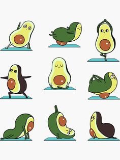 'Avocado Yoga' Sticker by Huebucket - вырезки - Avacado Avocado Cartoon, Avocado Art, Cute Avocado, Griffonnages Kawaii, Yoga Illustration, Cute Kawaii Drawings, Cute Cartoon Wallpapers, Cute Disney, Easy Drawings