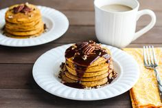 Pumpkin Pie Spice Pancakes with Caramel Syrup These Pumpkin Pie Spice Pancakes with Caramel Syrup are a sweet and yummy breakfast that is just perfect for Fall mornings!