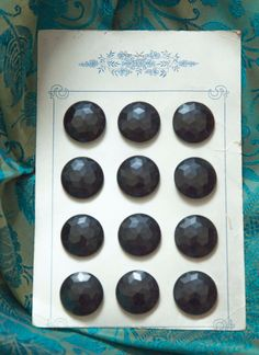 12 Beautiful Round Faceted Black Czech Glass Buttons on Card by RubanRuban on Etsy