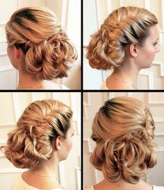 Glamourous wedding hair: This would be good for a veil pinned above the lower bun, and a hair accessory at the base of the side twist.
