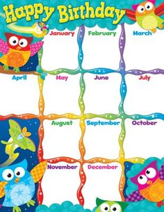 Checkout the Happy Birthday Owl Stars Learning Chart product Birthday Calendar Classroom, Stars Classroom, Classroom Rules Poster, Owl Theme Classroom, Happy Birthday Owl, Birthday Wall, Birthday Display, Birthday List, Birthday Charts