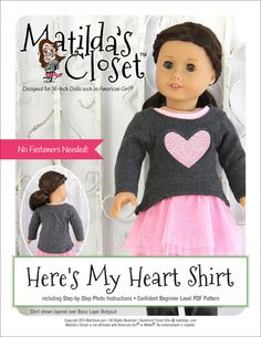 """HERE'S MY HEART SHIRT 18"""" DOLL CLOTHES"""