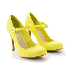 60's Retro Vintage Pinup Lady Lemon Yellow Mary Jane High Heels Pumps Shoe