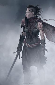 Inez being a badass (Thiefling/Demon Female Warrior) by ElsaKroese