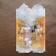 Artista Usos Soggy, Manchado Bolsas de té como lienzo para el arte Daily detallada - Mi Met Moderno