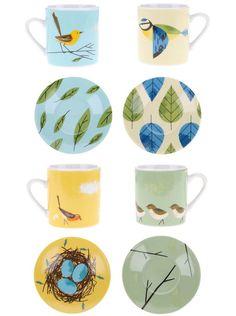 Porcelánový set čtyř barevných hrníčků a podšálků Magpie