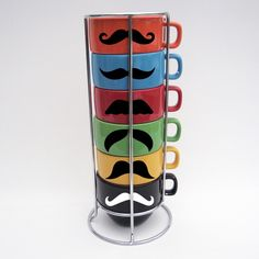 Stackable Tea Cups with Mustaches! #teacups #stackable #colorful