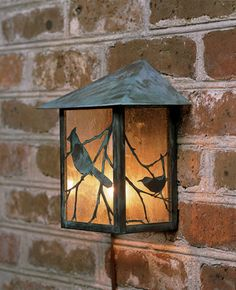 "$385. Songbird Copper Wall Lantern Made of copper with a verdigris finish, the Songbird Lantern features clear (not yellow) seedy glass and is designed for outdoor use. 100 watt max bulb. 1243 Songbird Copper Wall Lantern.  9""W x 5.5""D x 10.5""H. *8 wk delivery time. Has matching Hanging Lantern from same designer. DG would LOVE this."