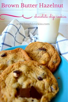 Brown Butter Hazelnut Chocolate Chip Cookies at www.laughlovekiss.com.  These are cookie perfection!