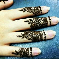 Rose finger henna design