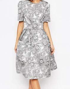 Image 3 of ASOS Mono Floral Jacquard Belted Midi Prom Dress