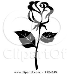 Clipart Of A Black And White Rose Flower 16 - Royalty Free Vector Illustration by Seamartini Graphics