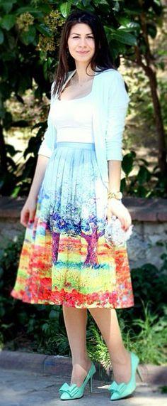 Provence Print Skirt