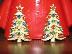 Vintage 1960's Jewelry  Christmas Tree Earrings http://TheIDconnection.etsy.com  Retro 60's X-Mas Nostalgia $8.00 We sell Holiday Memories