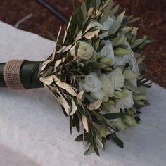 νυφική ανθοδέσμη με λευκούς  λυσίανθους  και φύλλωμα ελιάς....Δεξίωση | Στολισμός Γάμου | Στολισμός Εκκλησίας | Διακόσμηση Βάπτισης | Στολισμός Βάπτισης | Γάμος σε Νησί & Παραλία.