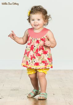 Wish You Were Here; Summer 2018; Wayside Tunic. This pretty printed tunic features beautiful butterflies and pretty polka dots. #MatildaJane #BabyFashion #BabyClothes #Butterflies #BabyTunic #Summer #SummerFashion #PinkShirt