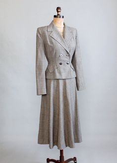 Vintage Late 1940s New Look Plaid Suit