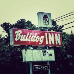 Georgia Bulldog Inn, UGA College Art Print, Alumni Wall Decor, GO DAWGS, Industrial Decor. Vintage motel sign from the Bulldog Inn, just outside of downtown Athens, Georgia. Great gift for that UGA fan. Title: Bulldog Inn.