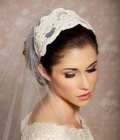 Cap Veil Beaded Lace Bridal Cap Juliet Veil Tulle by GildedShadows, $118.00