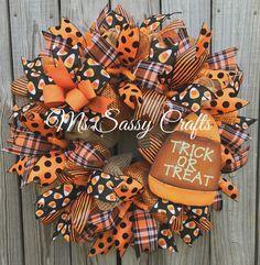 Halloween Wreath - Halloween Deco Mesh Wreath - Candy Corn Deco Mesh Wreath - Trick or Treat Wreath - Halloween Door Hanger by MsSassyCrafts on Etsy https://www.etsy.com/listing/464279858/halloween-wreath-halloween-deco-mesh