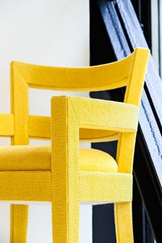 Upholstered Louvre dining in vibrant yellow from Baltus. Decoration, Projects To Try, Dining, Chair, Louvre, Vibrant, Furniture, Yellow, Home Decor