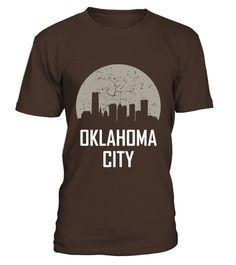 # Oklahoma City Ok T-shirt  Full Moon Skyline Silhouette .  Oklahoma City Ok T-shirt  Full Moon Skyline Silhouette