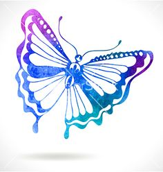 Colorful background with watercolor butterfly vector 2524232 - by Elmiko on VectorStock®