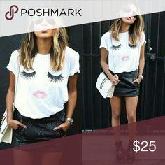 """Eyelashes & Lips"" graphic tee shirt NWT.Trendy graphic tee.94%Rayon.Versatile tee shirt.Lashes have a hint of glitter... Tops Tees - Short Sleeve"