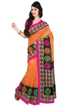 Splendid Orange,Black Color Printed Silk Saree