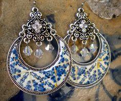 Portugal Tile Replica Chandelier Earrings Blue 1892  see by Atrio,