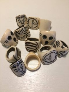Lot of 10 rings from India made from bone horn and wood Hippie set Goa new set 2