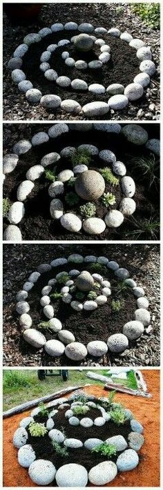 Front yard ideas. Spiral rock garden to plant succulents in.