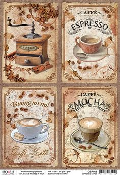 Decoupage Vintage, Vintage Paper, Vintage Food Labels, Coffee Doodle, Mushroom Crafts, Vintage Garden Parties, Coffee Poster, Coffee Pictures, Wall Decor Pictures