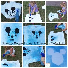 Mickey Mouse Spray Silhouette T-shirts, super fun to do with kids! http://mamato5blessings.com/2014/03/diy-mickey-mouse-spray-silhouette-t-shirt-disneyside/