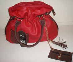 RED LEATHER PURSE #COCOJOHNSEN #ShoulderBag UP FOR BID ON EBAY $18.98 FREE SHIPPING